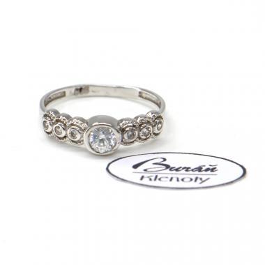 Prsten z bílého zlata se středovým zirkonem a zirkony Pattic AU 585/000 1,92 gr, PR116410601B