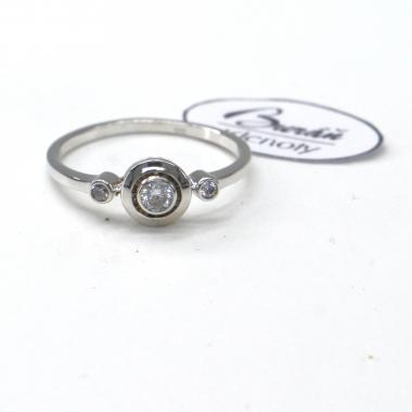 Prsten Pattic z bílého zlata se středovým zirkonem a zirkony AU 585/000 1,80 gr,  PR686006101A