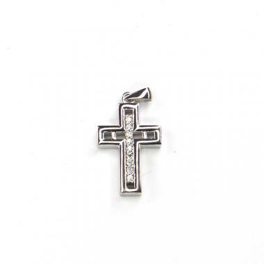 Přívěs z bílého zlata kříž se zirkony Pattic AU 585/000 2,85 gr LMG1805W