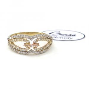 Prsten z tříbarevného zlata a zirkony Pattic AU 585/000 2,05 gr, Z426001