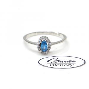 Prsten z bílého zlata se zirkony a akvamarínem  AU 585/000 1,55 gr, PR115602201