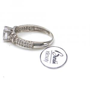 Prsten z bílého zlata se středovým zirkonem a zirkony Pattic AU 585/000 2,27 gr, PR116614501