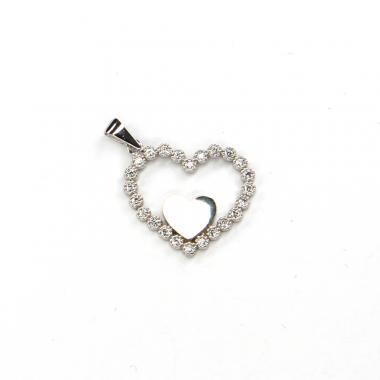 Přívěs z bílého zlata srdce se zirkony Pattic AU 585/000 1,45 gr LMG3305W