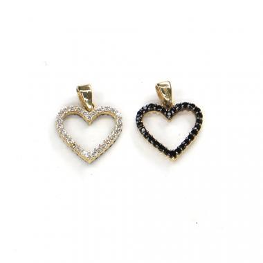 Přívěs ze žlutého zlata srdce se zirkony Pattic AU 585/000 1,05 gr ARP018405