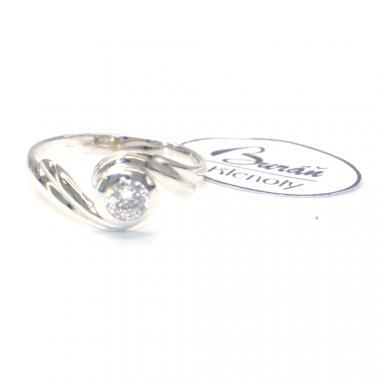 Prsten Pattic z bílého zlata se středovým zirkonem AU 585/000 2,20 gr, PR686004801A-54