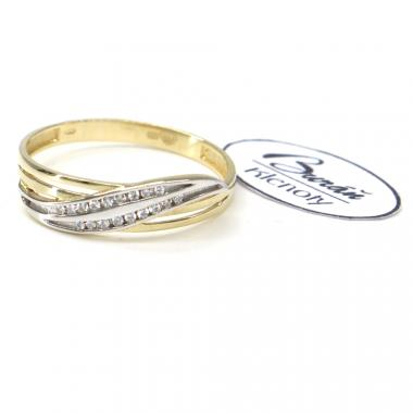Prsten Pattic ze žlutého a bílého zlata doplněný zirkony AU 585/000 1,65 gr,  PR111419801-60
