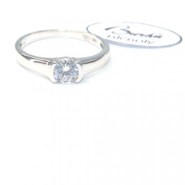 Prsten Pattic z bílého zlata se středovým zirkonem AU 585/000 2,25 gr, BA06901-55