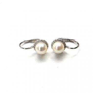 Náušnice z bieleho zlata Pattic s morskými perlami a zirkónmi AU 585/000 2,8 g BV500104W