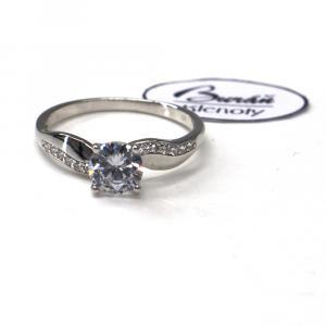 Prsten z bílého zlata a zirkony Patiic  AU 585/000 2,12 gr, PR526051801-57