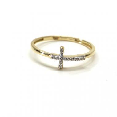Prsten ze žlutého zlata Pattic AU 585/000 1,10 gr GU00301 se zirkony