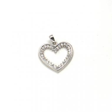 Príves z bieleho zlata srdce so zirkónmi Pattic AU 585/000 1,5g BV038105W