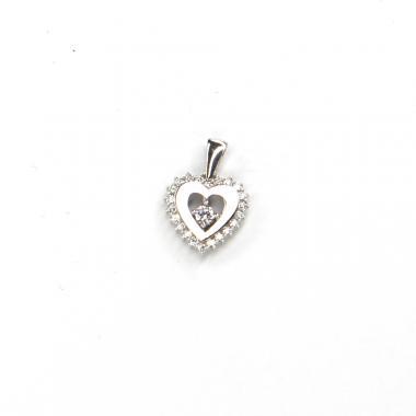 Přívěs z bílého zlata srdce se zirkony Pattic AU 585/000 1,1 gr LMG2605W