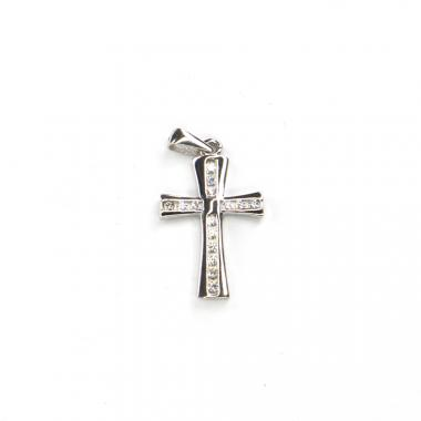 Přívěs z bílého zlata kříž se zirkony Pattic AU 585/000 1,50 gr LMG2305W