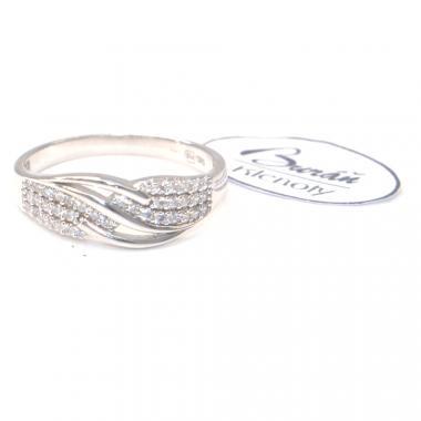 Prsten  Pattic z bílého zlata doplněný zirkony AU 585/000, 2,57 gr,  PR126612901-56
