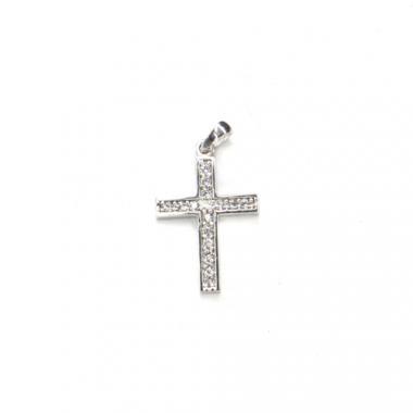 Príves z bieleho zlata kríž so zirkónmi Pattic AU 585/000 1,1g BV002205W