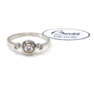 Prsten z bílého zlata se středovým zirkonem a zirkony Pattic AU 585/000 1,70 gr, PR686006101