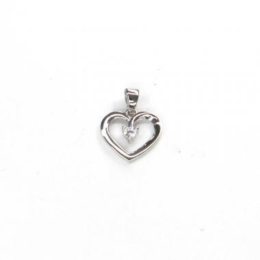 Přívěs z bílého zlata srdce se zirkonem Pattic AU 585/000 0,90 gr ARP118005W