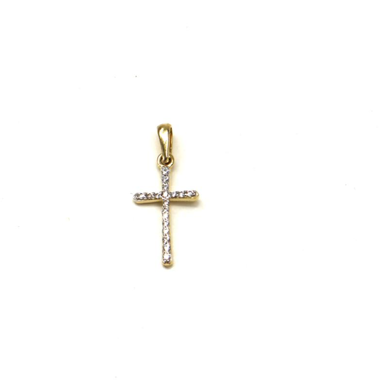 Zlatý přívěsek Pattic kříž se zirkony 0,65 gr GU00505A