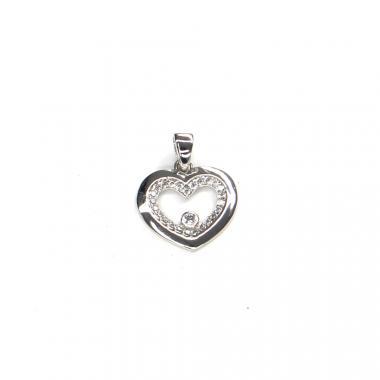 Přívěs z bílého zlata srdce se zirkony Pattic AU 585/000 1,10 gr ARP318805W