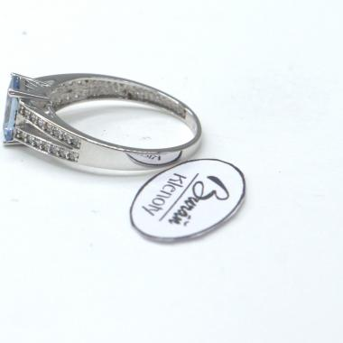 Prsten Pattic z bílého zlata se zirkony a akvamarínem AU 585/000 1,67 gr, PR116083901-54