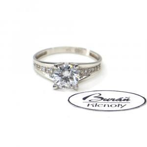Prsten z bílého zlata se středovým zirkonem a zirkony AU 585/000 2,47 gr, PR116407001