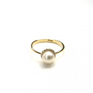 Prsten ze žlutého zlata,zirkony a mořskou perlou Pattic AU 585/000 1,8g BV500101Y-55