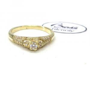 Prsten ze žlutého zlata se středovým zirkonem Pattic AU 585/000 3,40 gr, RT663001