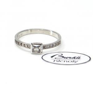 Prsten z bílého zlata se středovým zirkonem a zirkony Pattic AU 585/000 1,85 gr, PR686004001