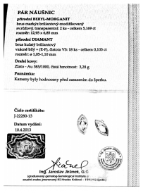 Náušnice AU 585/1000 př.Beryl-Morganit+př.Diamant 3;28gr OPTIMA DIAMANT JO2228004