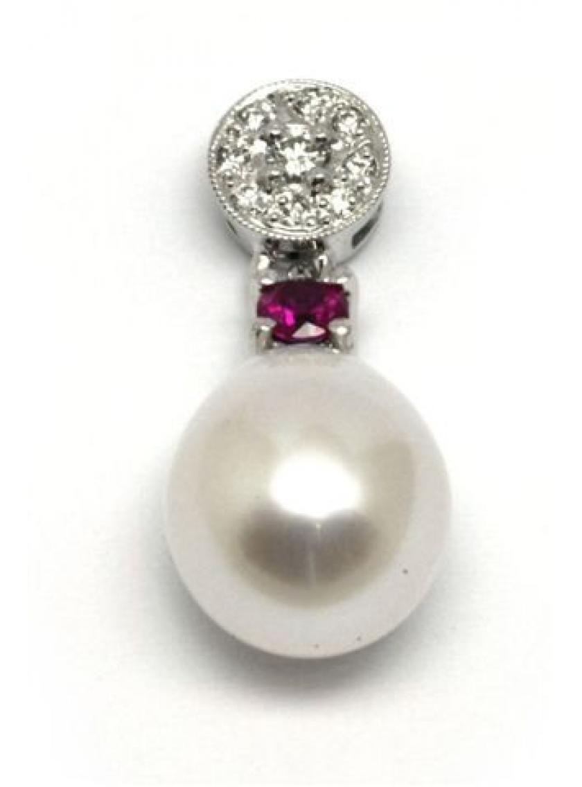 Přívěs AU 585/000 kultivovaná perla+př.Korund-Rubín+př.Diamant 1;12gr OPTIMA DIAMANT JO2245605