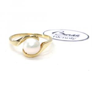 Prsten ze žlutého zlata s perlou 2,10 gr, PR185096201-54