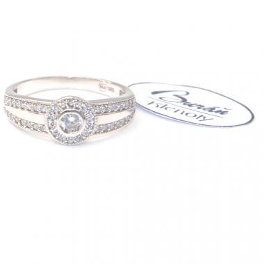 Prsten Pattic z bílého zlata se středovým zirkonem a zirkony AU 585/000 2,80 gr, PR126607601-52