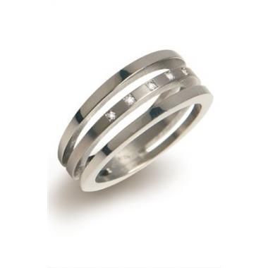 Titanový prsten BOCCIA s diamanty 0128-03