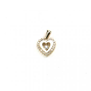 Přívěs ze žlutého zlata srdce se zirkony Pattic AU 585/000 1,1 gr LMG2605Y