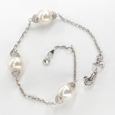 Náramek z bílého zlata s perlami a zirkony Pattic AU585/000 5g BV600103W