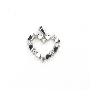 Přívěs z bílého zlata srdce se zirkony Pattic AU 585/000 1,6 gr LMG2705W
