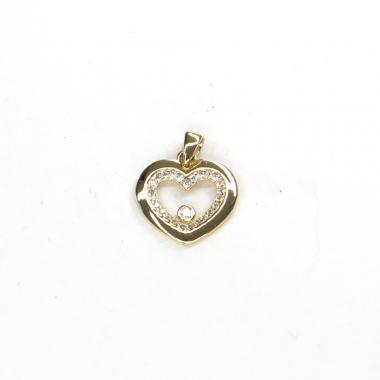 Přívěs ze žlutého zlata srdce se zirkony Pattic AU 585/000 1,10 gr ARP318805Y