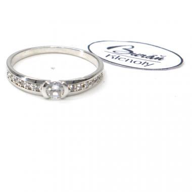 Prsten Pattic  z bílého zlata se středovým zirkonem a zirkony AU 585/000  2,07 gr, PR686422901-56