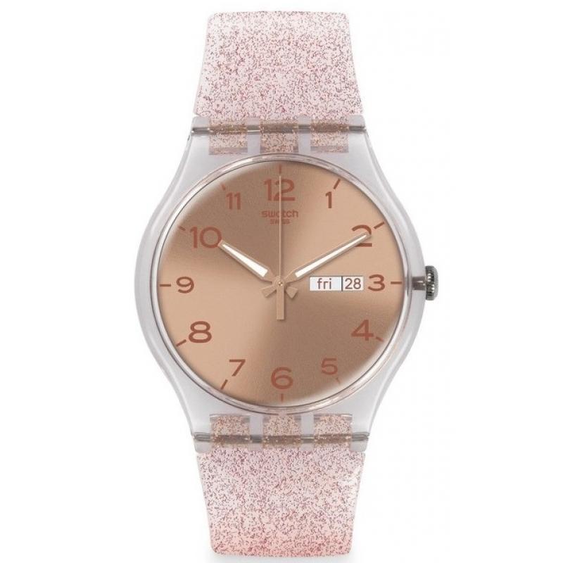 d4fb424a465 3D náhled. Dámské hodinky SWATCH Pink Glistar SUOK703
