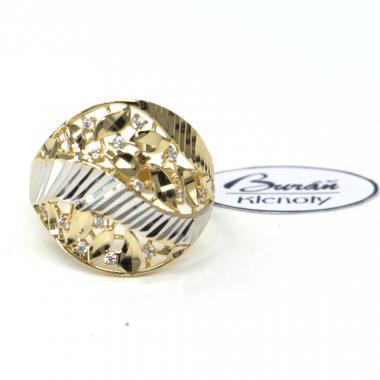 Prsten z dvoubarevného zlata a zirkony Pattic AU 585/000 2,70 gr,  PTG06901C-54