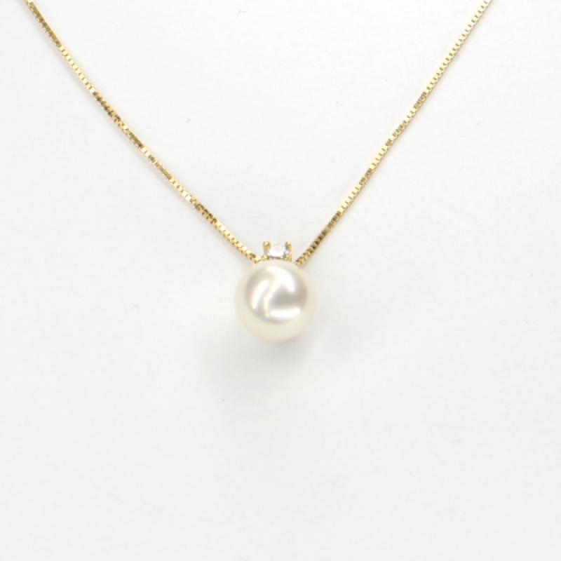 Náhrdelník ze žlutého zlata s perlou a zirkonem Pattic AU585/000 2,15g BV514902Y