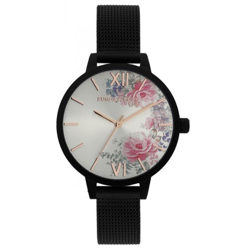 Dámske hodinky JVD Sunday Rose Fashion Midnight Blossom SUN-F05