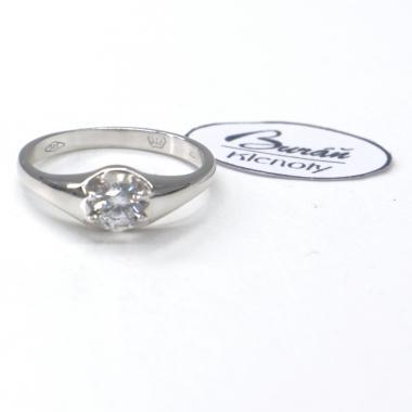 Prsten Pattic z bílého zlata se středovým zirkonem AU 585/000 2,30 gr, PR186040801-53