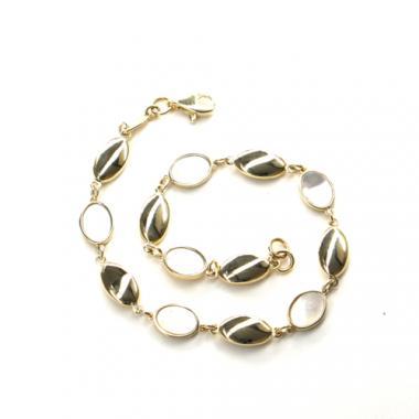 Náramek Pattic ze žlutého zlata s perleťí, AU 585/000 4,6 gr, ARP031503