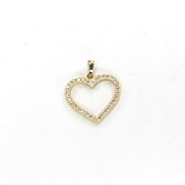 Přívěs ze žlutého zlata srdce se zirkony Pattic AU 585/000 0,95g BV027205Y