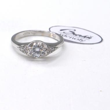 Prsten Pattic z bílého zlata se středovým zirkonem a zirkony AU 585/000 2,27 gr,PR185089301-52