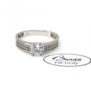 Prsten z bílého zlata se středovým zirkonem a zirkony  AU 585/000 2,45 gr, PR115062301