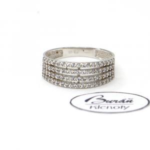 Prsten z bílého zlata a zirkony  AU 585/000 2,55 gr, PR116074101A
