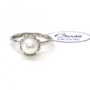 Prsten z bílého zlata se středovou perlou a zirkony Pattic AU 585/000 2,05 gr, PR206139201