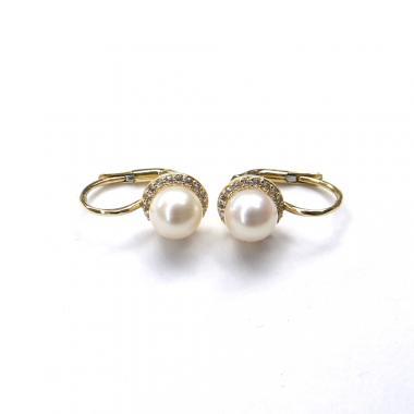 Naušnice ze žlutého zlata s mořskými perlami a zirkony Pattic AU 585/000 2,75g BV500104Y